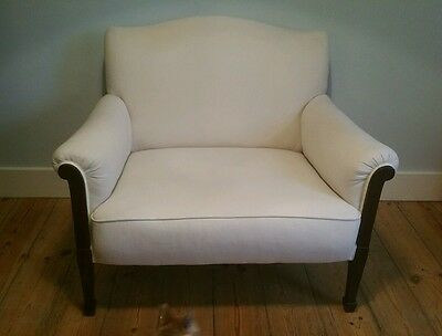 Edwardian love seat; reupholstered