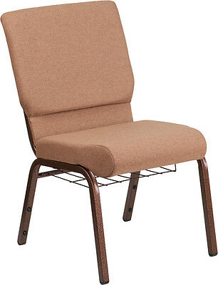 18.5''W Caramel Fabric Church Chair, Cup Book Rack - Copper Vein Frame