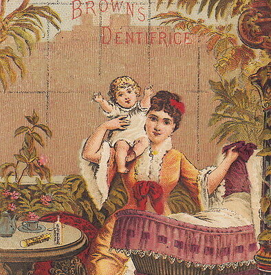 Brown's Dentifrice Mrs Winslow Teething Syrup Baby Tooth 1885 Calendar Cure Card