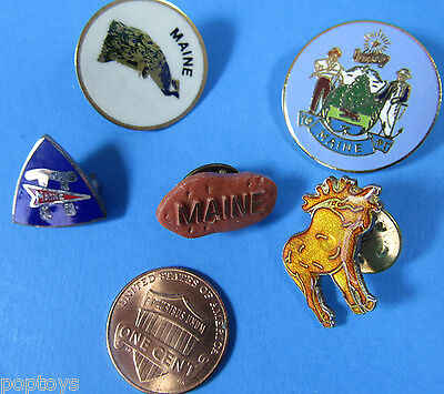PIN LOT of 5 vintage MAINE TRAVEL TOURISM Moose Peacock Dirigo