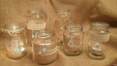 6 Wedding Table Centerpieces Rustic/Vintage  Hand Decorated Jars for Tealights