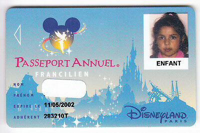 Disney Paris Pass Carte / Card .. Passeport Annuel Francilien Enfant Speos 00/05