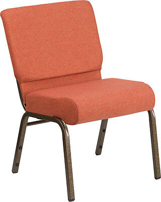 21'' Extra Wide Cinnamon Fabric Stacking Church Chair - Gold Vein Frame