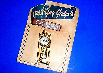 "1942 Gay Gadgets ""Old Timer"" Grandfather Clock Pin by Ditbro Products U.S.A."