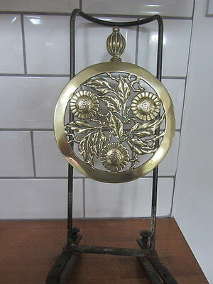 Lovely Antique Brass Trivet For Range / Fire