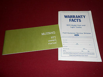1972 FORD MUSTANG OWNER MANUAL plus 72 WARRANTY FACTS BOOKLET