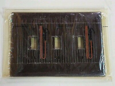NOS Triple Lg Size Gang Bakelite Brown Ribbed Sierra Switch Plate Cover Art Deco