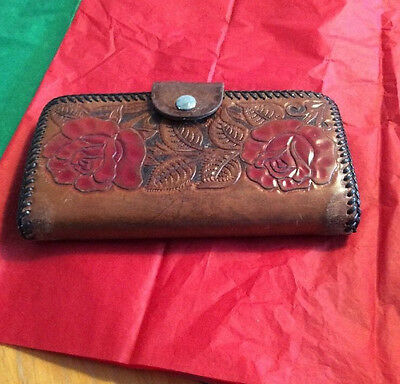 Vintage Tooled Leather Wallet Ladies Red Roses Three Compartments Check Book