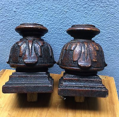 Pair Antique Hand-Carved Oak Dresser Finials Posts Treatments 3-1/4 x 2-1/4 NICE