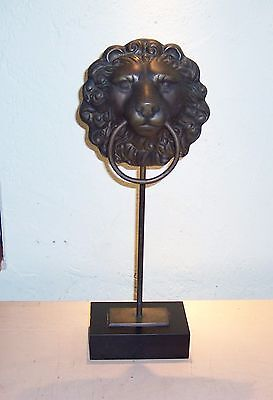 Vintage Brass  Door  Knocker Lion Head Sculpture Piece