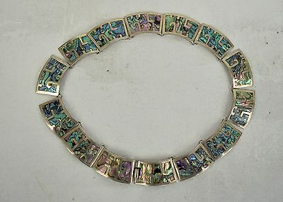 Necklace .925 Sterling Silver Abalone Inlay Panel Link Choker Taxco Mexico