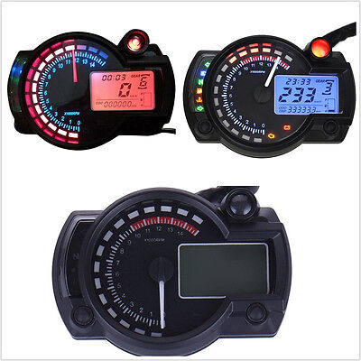 15000rpm Motorcycle ATV Dual Color Backlight LCD Digital Speedometer Tachometer