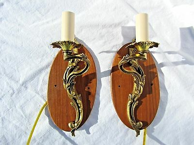 "9.25"" GRACEFUL SCROLL ACANTHIS LEAF Vtg PAIR BRASS ELECTRIC 1 LIGHT WALL SCONCES"