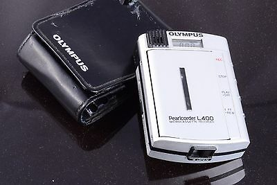 Working Dictation Microcassette Recorder Olympus Pearlcorder L400 + New Battery