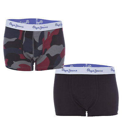 Junior Boys Pepe Jeans Two Pack Coolio Boxer Shorts In Camo From Get The Label