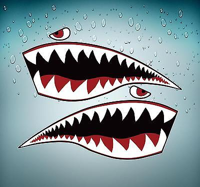 Sticker car moto tuning jdm big size airplane shark plane fighter teeth tigers