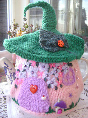 New Hand Knitted Fairy Cottage Tea Cosy ~ Large