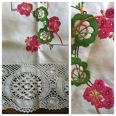 Vintage pink green EMBROIDERED supper cloth STUNNING lace edging