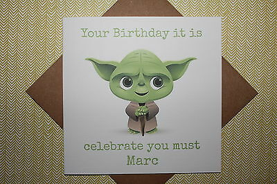 Handmade Personalised Star Wars Yoda Birthday Card, Father, Son, Brother, Uncle