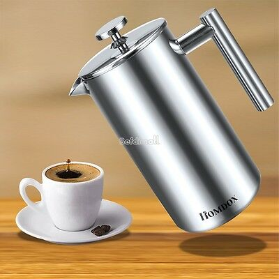 1L Stainless Steel Cafetiere French Filter Coffee Press Plunger Coffee Maker BE