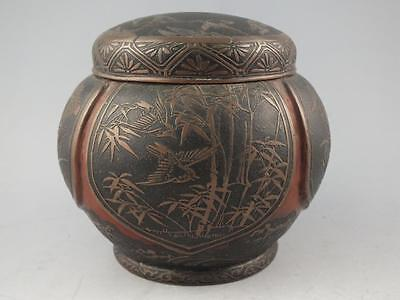 Nice Antique Japanese Bronze Or Copper Alloy Covered Jar Or Tea Caddy - Signed