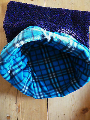 Hand Knitted Organic Wool Cat / Small Dog Sleeping Bag with Fleece Liner