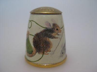 Staffordshire ENAMEL Thimble with MICE Sewing Needle Threads