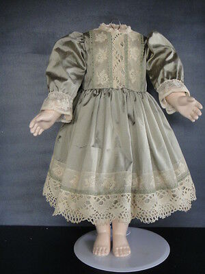 "Silk French Doll Dress for 21-23"" doll - Antique Style Made in France. G.BRAVOT"