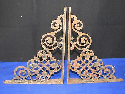2 Antique Cast Iron Shelf Brackets Support,Ornate Victorian Store-Home-Hardware