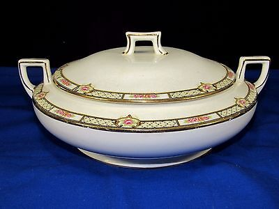 Homer Laughlin Casserole Dish,Bowl w/Lid,Square Handles Pink Roses Band