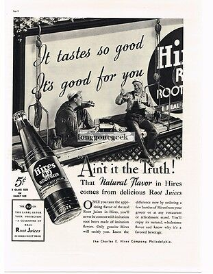 1937 HIRES ROOT BEER Sign Painters Relaxing art Vtg Print Ad