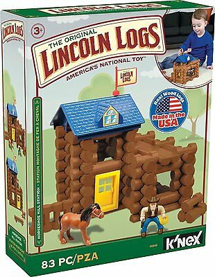 LINCOLN LOGS Horseshoe Hill Station Toy 2015 Real Wood K'Nex Made in USA 3 - 8 Y