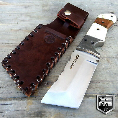 """9"""" Hunt down Hunting FULL TANG TANTO Knife w/ Wooden Handle & Leather Sheath"""