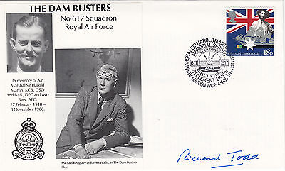 Dams Busters 617 Sqn.Signed Richard Todd  portrayed Guy Gibson in the film The