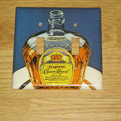 VINTAGE STYLE 2 HOLE CROWN ROYAL Whiskey Bottle LIGHT SWITCH COVER PLATE #2