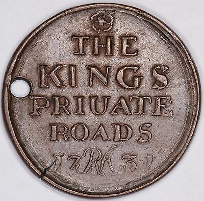 C18th King George II private royal roads bronze gate pass coin token London 1731