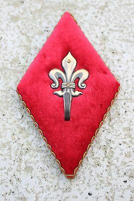 Lovely Vintage Mid Century Coat Hook Fleur De Lis Lys Red Velvet and Brass