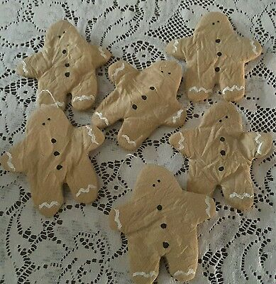 Primitive set of 6 Gingerbread cookie, Christmas, Bowl filler, ornies, tucks