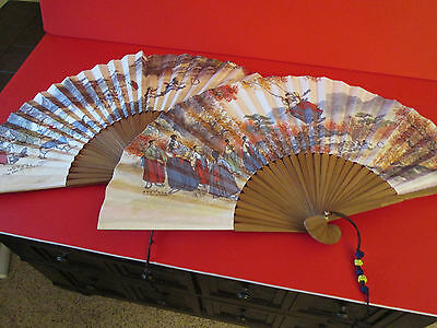 2 Hand Held folding Fans  the Fan of Korea playing scenes for Halloween Costumes