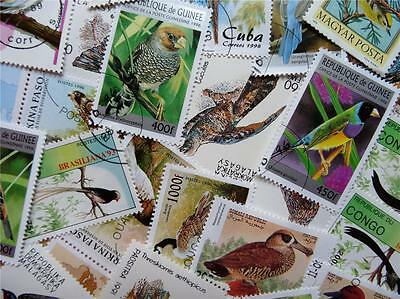 100 Thematic Birds Stamps Mainly CTO & Mint Unmounted Singles & Sets