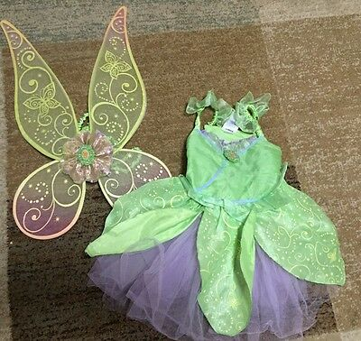 Disney Store Deluxe Tinkerbell Costume w/ Wings (lights don't work) Girl Sz XS 4