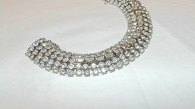 Vintage Weiss Silver Tone Clear Rhinestone Bracelet 5 Rows Center Baguettes