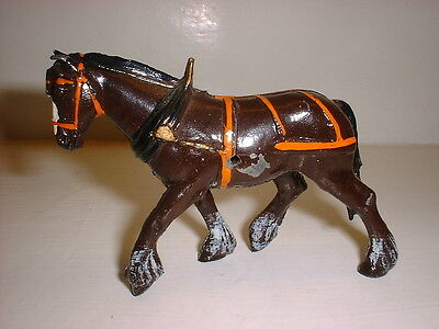 Prewar only Britains lead - CLYDESDALE 'FUR HOOFED' CART HORSE