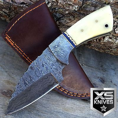 "7"" Fixed Blade FULL TANG Hunting Real Damascus steel Skinner STAG BONE Knife"