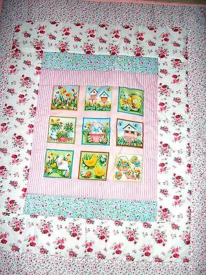 Very Pretty Hand made Cot Quilt in pink - Rosebuds / Bunnies/Chicks - NEW