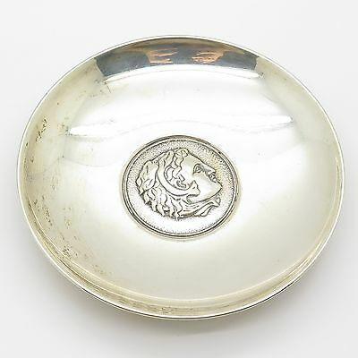 Signed FA Vtg 925 Sterling Silver Greek Theme Unique Collectible Small Plate