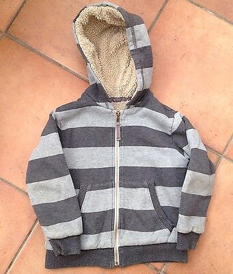 Mini Boden Striped Shaggy Lined Zip Up Hoodie 3-4 Years