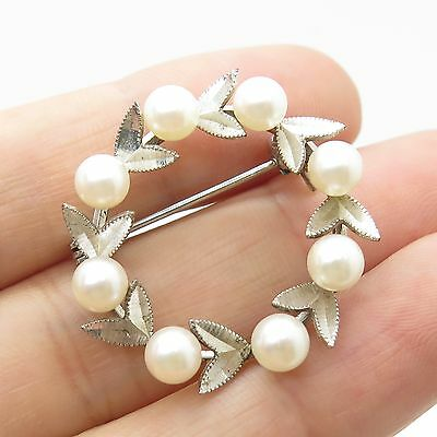 Vintage 925 Sterling Silver Real Pearl Floral Pin Brooch