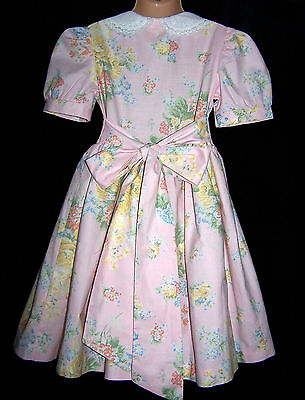 Laura Ashley vintage mother & child label soft pastel floral party dress, 3 Year