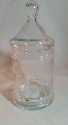 Etched Apothecary display jar  Clear Glass Small Lid